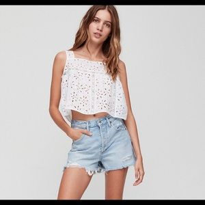 Wilfred Leonore Embroidered Lace Crop Top